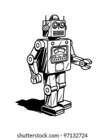 Retro Robot - Clipart Illustration