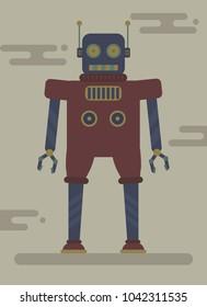 Retro Robot, Flat Design