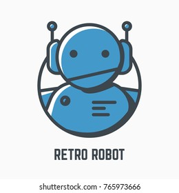 Retro robot line illustration. Blue android with headphones and antennas. Mono color vector. Logo, mascot or icon of old-fashioned bot. Lights and shadow style. Linear modern, trendy vector banner.