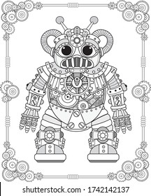 Retro robot in the style of steampunk coloring book.