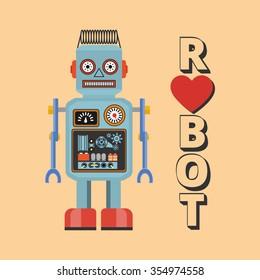 Retro robot. Vintage robot. Robot With Heart. Hipster vintage robot.