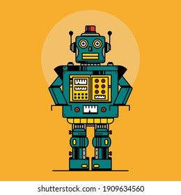 Retro robot vintage toys. Robot vector illustration in flat style design. Vintage tin robot toy on a yellow background.