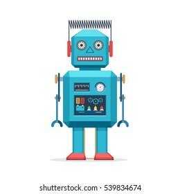 Retro robot vintage toys. Vector illustration in flat style design isolated on and white background