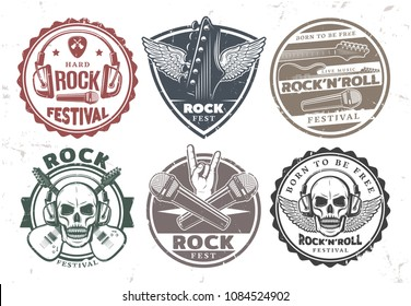 Retro rock music stamps set with inscriptions headphones microphones electric guitars skull wings mediator isolated vector illustration