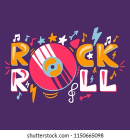Retro Rock n Roll Label. Music fest badge. Festival banner with music album or disc. Vector