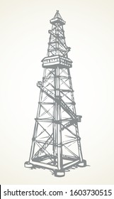 Retro rock refine petrol metal mineral borehole crane work on white sky. Black line hand drawn old heavy offshore pollution flat logo pictogram concept in modern art doodle cartoon style on text space