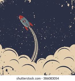 Retro rocket launch. Retro poster