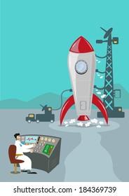 Retro Rocket Ready to Launch. Ground Control Scientist.