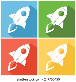 Retro Rocket Web Icons. Flat Style Vector Collection Set