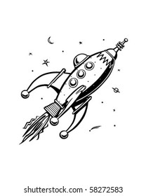 Retro Rocketship - Clip Art