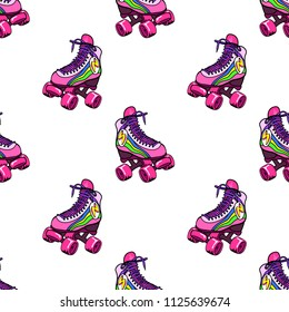 Retro roller derby skates seamless pattern. Vector illustration. Isolated on white background.
