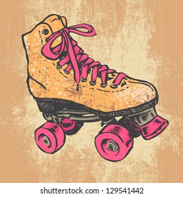 Retro Roller Skate And Grunge Texture Background. Vector Illustration.