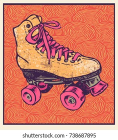 Retro Roller Skate And Hand Drawn Abstract Background. Vector Illustration.