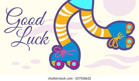 Retro roller skates vector illustration, good luck phrase. EPS 10, no transparency, no gradients, no meshes