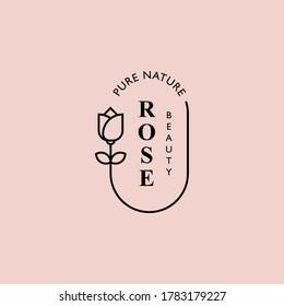 Retro rose flower logo vector for beauty fashion, salon and spa, bouquet boutique, etc