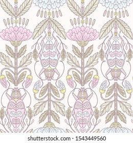 retro roses in pastel colors. vector vintage style seamless pattern with stylized roses and beetles
