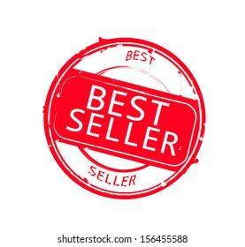 "Retro round red rubber stamp ""Best seller"" VECTOR"