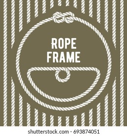 Retro round rope frame with knot on stripy background