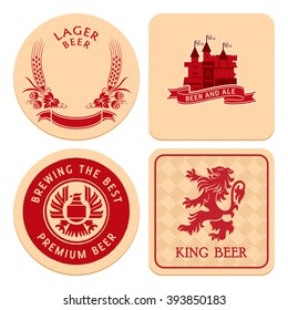 Retro round and square beer coaster designs