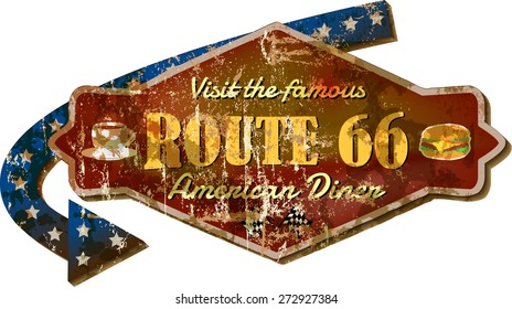 retro Route 66 diner sign, grunge style vector Illustration