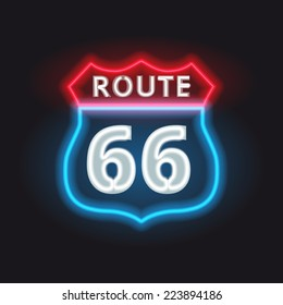 retro route 66 neon glowing banner