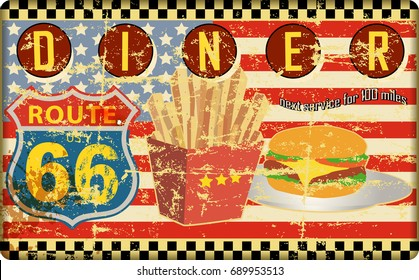 retro route sixty six diner sign, grungy style, vector illustration