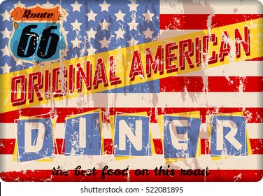 retro route sixty six enamel american diner sign, vector,