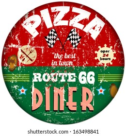 retro route sixty six pizza and diner sign