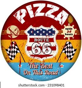 retro route sixty six pizza restaurant sign, retro style, vector illustration