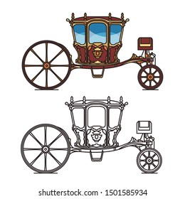 Retro royal chariot or vintage carriage for wedding, Berlinda Da Casa Real or old victorian transport, contour of medieval wagon. Brougham or britzchka, perth-cart icon. Victorian cab or stagecoach