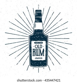 Retro rum bottle label design. Vintage alcohol badge, typography poster for tee design, printing t-shirt, web projects. With grunge distressed effects and star burst elements. Isolated