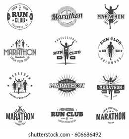 Retro run club badges and marathon badges or design elements. Monochrome. Vintage style. Isolated. Vector.