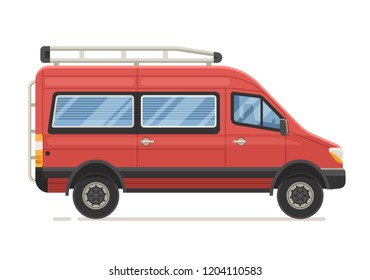 Retro RV minivan in flat design. Family van icon. Old red microbus for road travel. Cartoon voyage car.