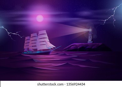 Retro sailing ship, old frigate or yacht sails at night in stormy sea or ocean near rocky shore with working lighthouse cartoon vector illustration. Maritime navigation in dangerous waters concept