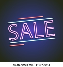 Retro sale neon sign isolated on background. Vector illustration. Eps 10.