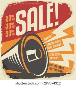Retro sale poster design concept. Vintage vector ad with discount promotion on old paper texture. Megaphone graphic illustration on yellow background.