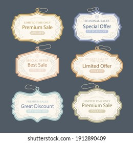 Retro sale tags collection Vector illustration.