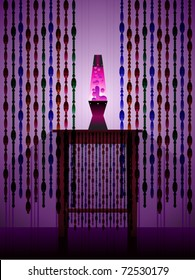 A retro scene with lava lamp and beaded curtains