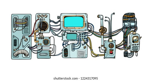 Retro science. Cyberpunk robots mechanisms and machines. Details of the spacecraft. Pop art retro vector illustration