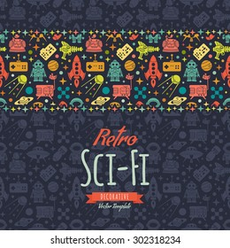 Retro Sci-Fi vector decorating design. Colorful card template with copy space