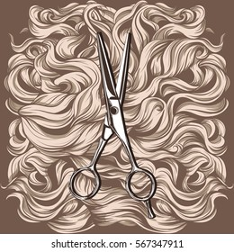 retro scissors against the background of the hair