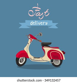 Retro scooter isolated. Fast delivery. Italian style.