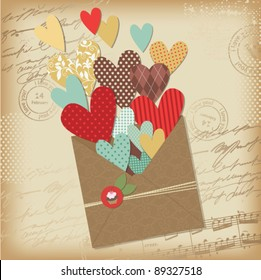 Retro scrapbooking elements, Valentine card