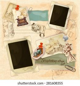 Retro scrapbooking set with vintage postcards and photo frames vector illustration