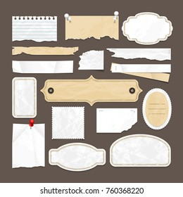 Retro scrapbooking vector collection with old paper, badges and images frames. Illustration of abstract paper retro blank sticker element