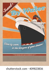 Retro sea traveling poster. Vintage travel poster for printing. Vector retro illustration of ship with ocean and sun rays as a background.
