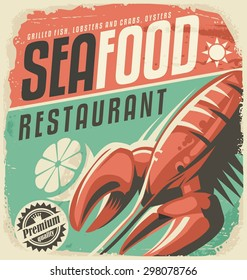 Retro seafood restaurant poster with lobster and lemon slice. Vintage fish specialties sign on old paper texture. Promotional ad design layout for bistro. Food and drink background theme.