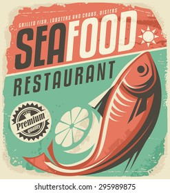 Retro seafood restaurant poster. Vintage bistro sign on old paper texture. Food and drink background theme with fish drawing and lemon slice.