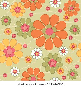 Retro seamless floral background