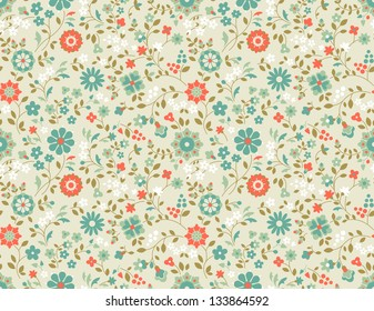 Retro seamless floral pattern. Decorative vector background with wild flowers.